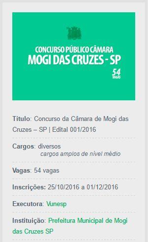 Ficam abertas até 01 de dezembro as inscrições do Concurso da Câmara de Mogi das Cruzes.