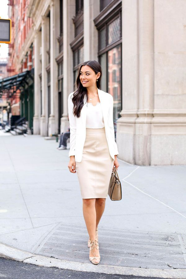 Dress in neutral colour palettes for your work in the summer months. Via Kat Tanita Skirt: Bailey44, Camisole: NYC, Blazer: Theory, Shoes: Aquazzura, Bag: Celine. Neutral Outfit Idea
