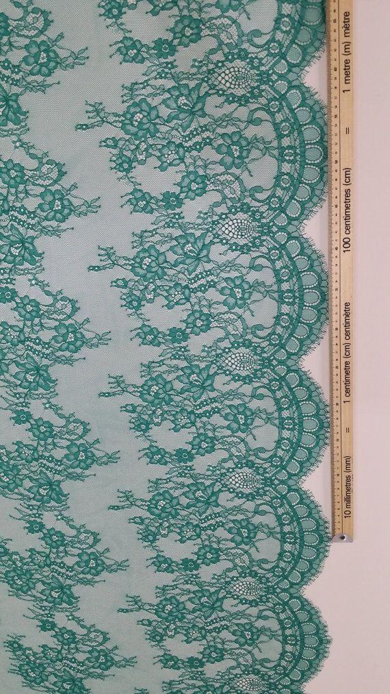 Verde tela Chantilly cordón cordón francés cordón nupcial