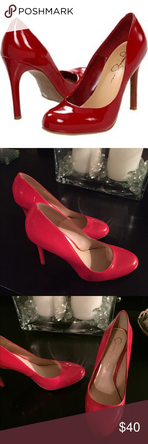 NWOTs Jessica Simpson Red Patent Leather Heels These beautiful shoes are brand new and were only tried on. Unfortunately my fat feet won't fit in them. 😒 Jessica Simpson Shoes