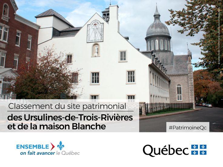 Le site patrimonial des Ursulines-de-Trois-Rivières et la maison Blanche sont désormais classés. Composé de bâtiments construits entre le tout début du 18e siècle et la seconde moitié du 20e siècle, le site patrimonial des Ursulines-de-Trois-Rivières comprend la maison Blanche, le pensionnat en pierre, le pensionnat du Sacré-Cœur, la maison Rouge, l'école normale et l'aile moderne du collège Marie-de-l'Incarnation. #PatrimoineQc