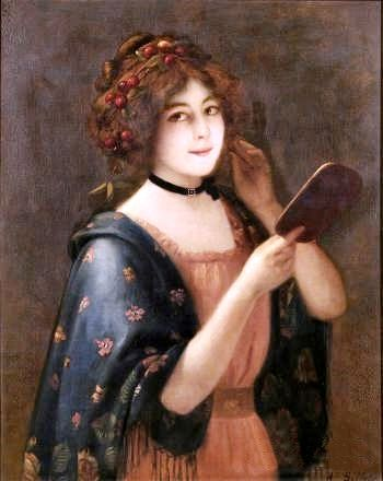 Could this be Isabel from 'The Cornish Knot'?Auguste Emile Bellet (1856 - 1911) : Young beauty holding a mirror (signed : 81x65 cm)