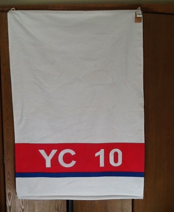 BOAT FLAG BANNER CANVAS RED WHITE BL LETTERS NUMBERS NAUTICAL BEACH HOME DECOR