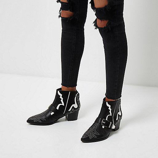 Bottes noires cloutées style western avec bande blanche - Bottines - Chaussures/bottines - Femme