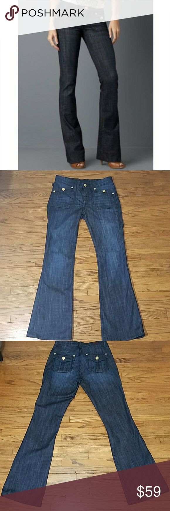 """Rock & Republic Scorpion Dark Wash Jeans. Rock & Republic Scorpion Dark WashJeans. Whiskering and factory distressing. Gold buttons on front and back. Excellent used condition, worn and washed once. Size 8. Approximate measurements taken with garment lying flat: waist 16""""1/2, rise 9""""1/4, 32"""" inseam. Feel free to ask any questions before purchase. Bundle 2 or more items to get automatic 10% discount. Rock & Republic Jeans"""