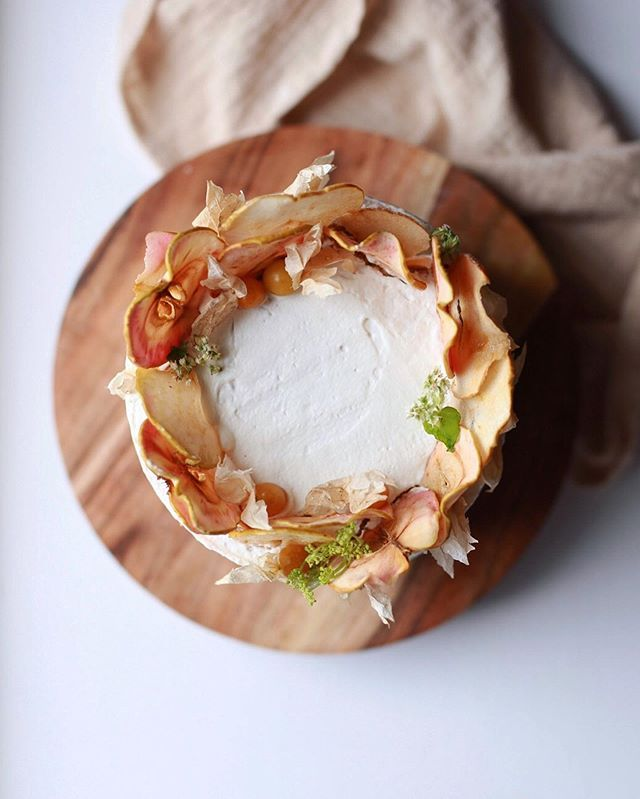 'Ricotta olive oil cake w/ spiced apple/plum compote & Mascarpone  whipped c…