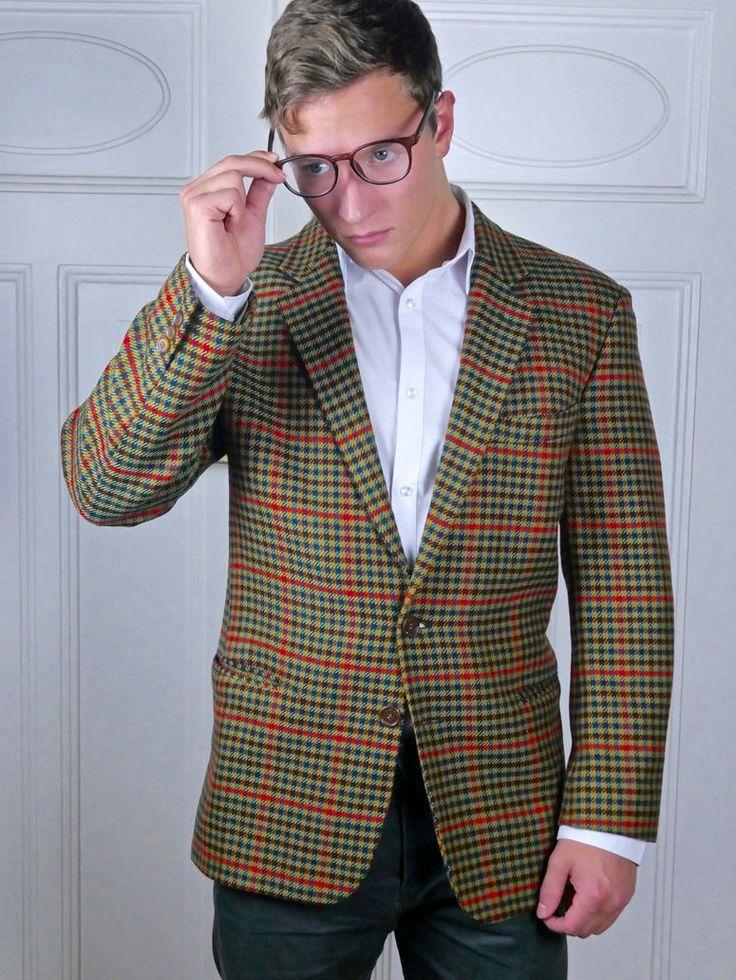 Vintage Wool Blazer, Italian Men's Jacket, Green Blue Burgundy Red Gun Club Check Blazer, Two-Button Blazer: Size Large, 40 US/UK by YouLookAmazing on Etsy