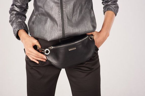 Leather bum bag, Fanny pack, Hip bag, Black leather Fanny pack