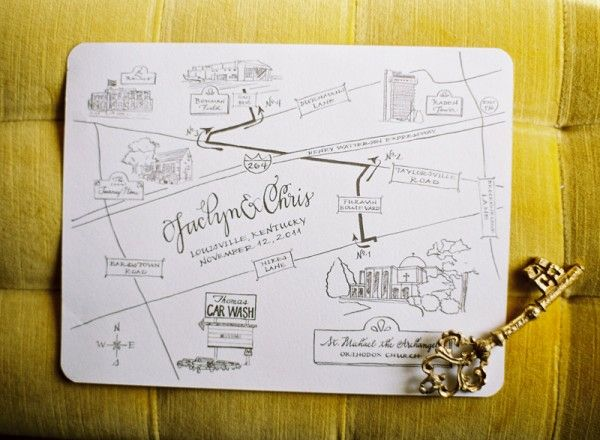simple but beautiful line drawn wedding invitation map
