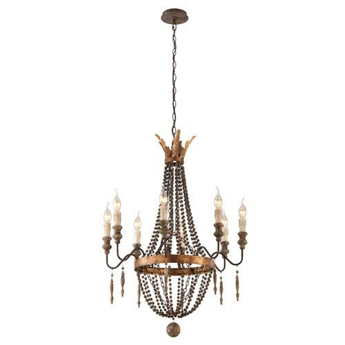 Troy French Bronze With Aged Wood Eight Light Small Chandelier On SALE