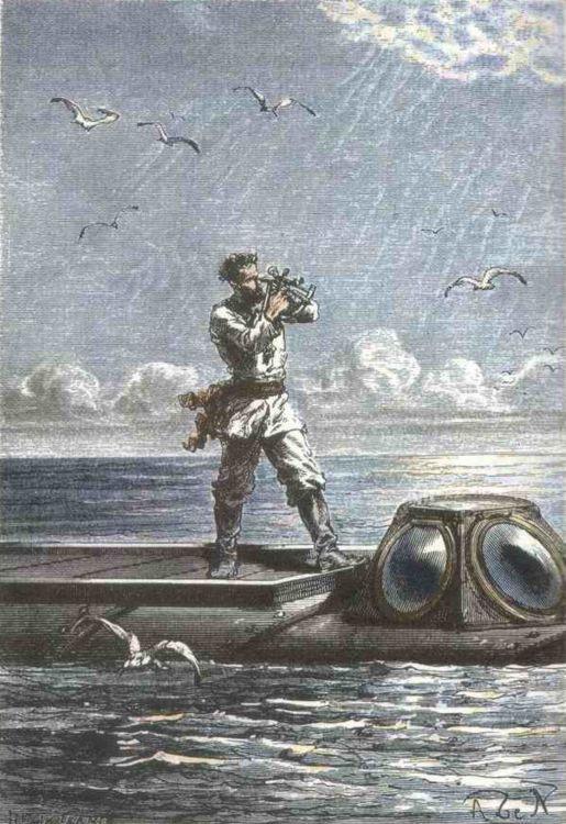 Le capitaine Nemo prit la hauteur du soleil.