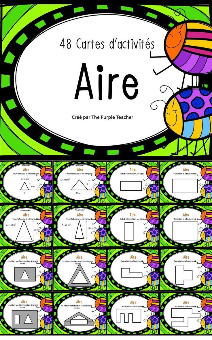 48 cartes d'activités pour aider vos élèves avec l'aire! $