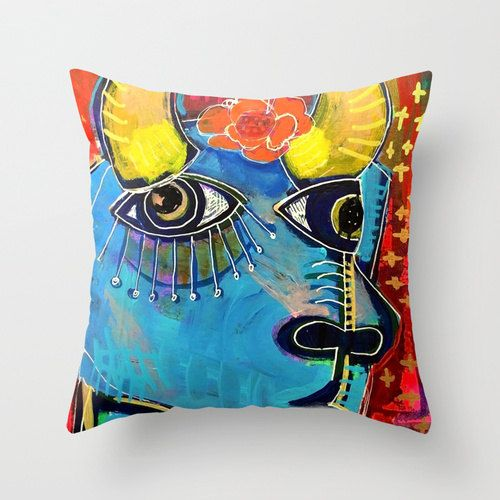Throw pillow cover. Hand sewn with a double-sided print of an original painting and has a concealed zipper for washing. Doesnt include the