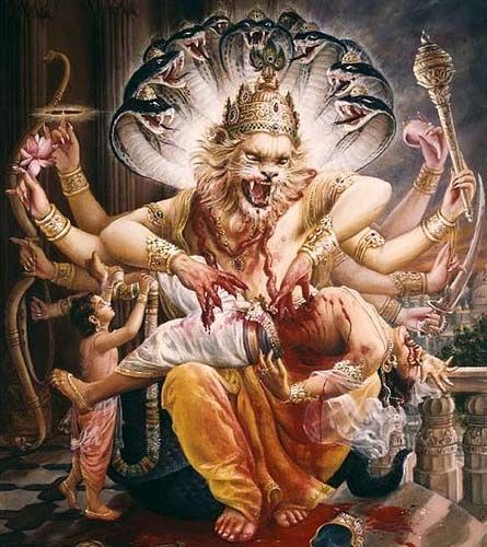 Lord Nrsimha - protects the devotees vanquishes the demons. Krishna in his half man half lion form!