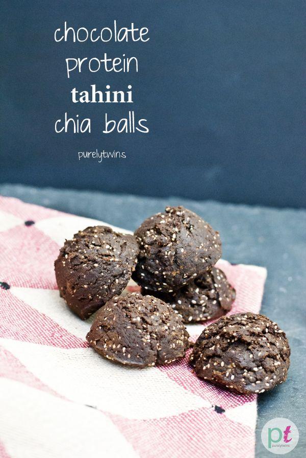 chocolate tahini protein chia seed balls