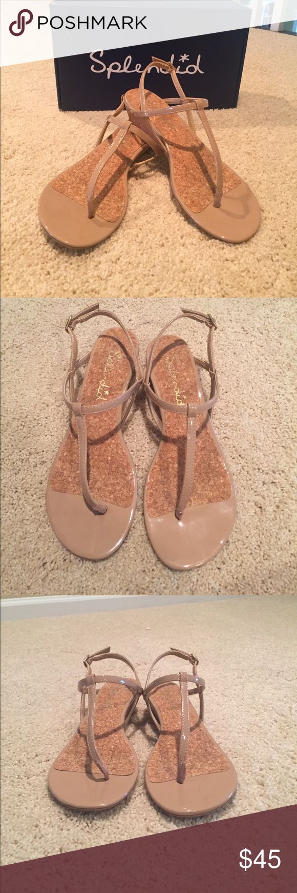 Splendid 'Edgewood' Sandal in nude, size 6.5 Splendid 'Edgewood' sandal in soft patent/nude, size 6.5. Worn 2 times with only signs of wear on bottom of sandals. Purchase includes original Splendid shoe box. Great condition, perfect for summer! Splendid Shoes Sandals