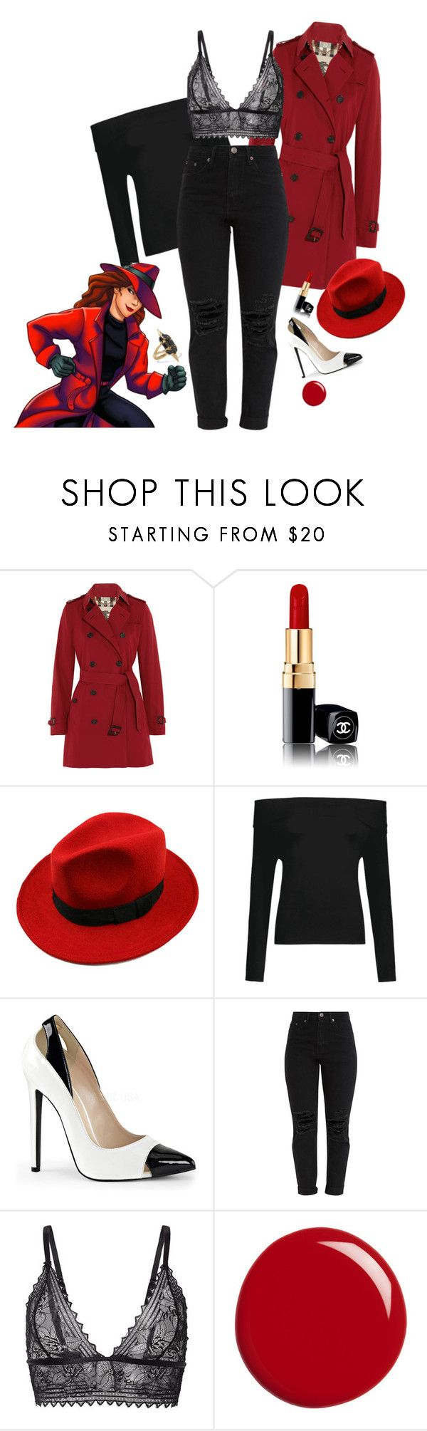 """Carmen San Diego 1.0 {Carmen San Diego}"" by sarah-natalie ❤ liked on Polyvore featuring Burberry, Chanel, WithChic, Gucci and Noir Jewelry"