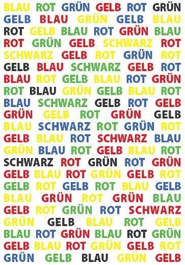 Ein Gedächtnistraining: Benennen Sie die Schriftfarbe jedes einzelnen Wortes nacheinander