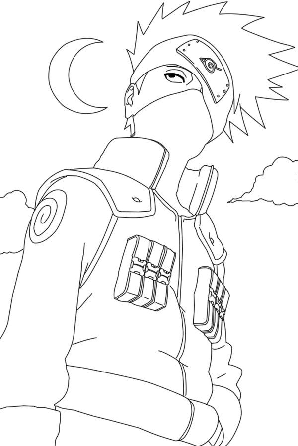 hatake kakashi pose coloring pages for kids printable naruto coloring pages for kids - Naruto Coloring Pages
