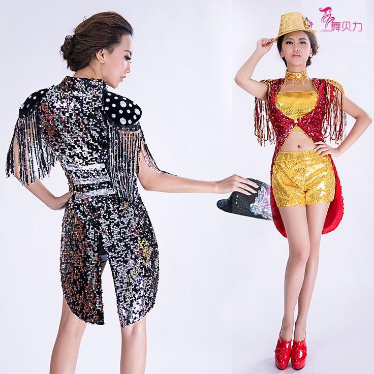 2016 новый джазовый танец этап носить платья женский современный блестка погон кисточкой куртка короткие костюм установить выпускного вечера смокинг Dj верхняя одежда купить на AliExpress