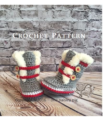 Work Sock Winter Booties - Sock Monkey Booties - Crochet Pattern (fun diy, cute crochet ideas) ♡