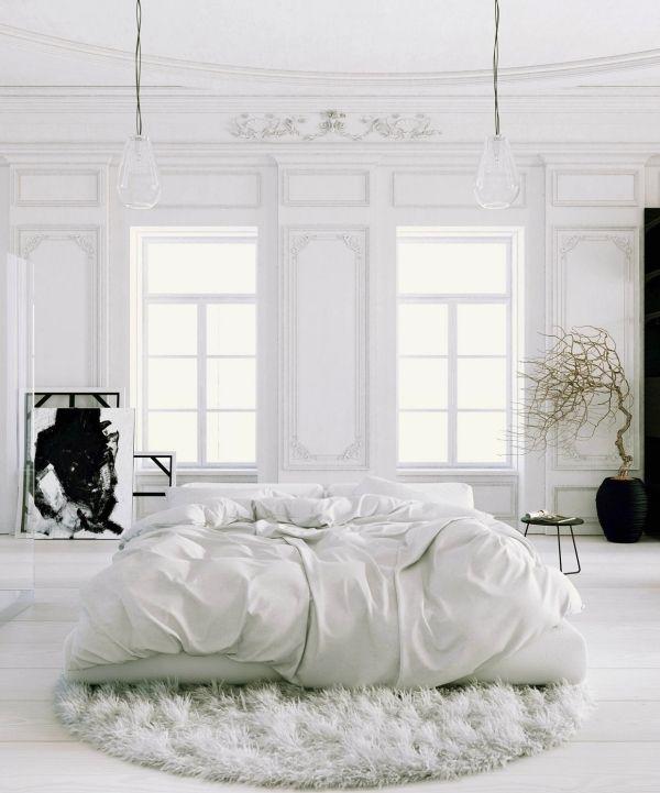 ideas de diseño de muebles de dormitorio principal blanco de la alfombra peluda detalles en negro