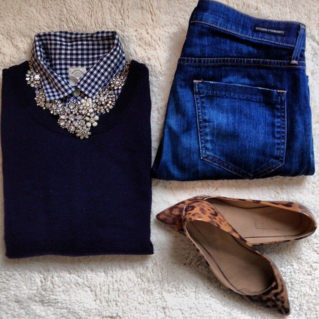 Great fall outfit  - leopard flats,  accent necklace, blue plaid (checkered) button up