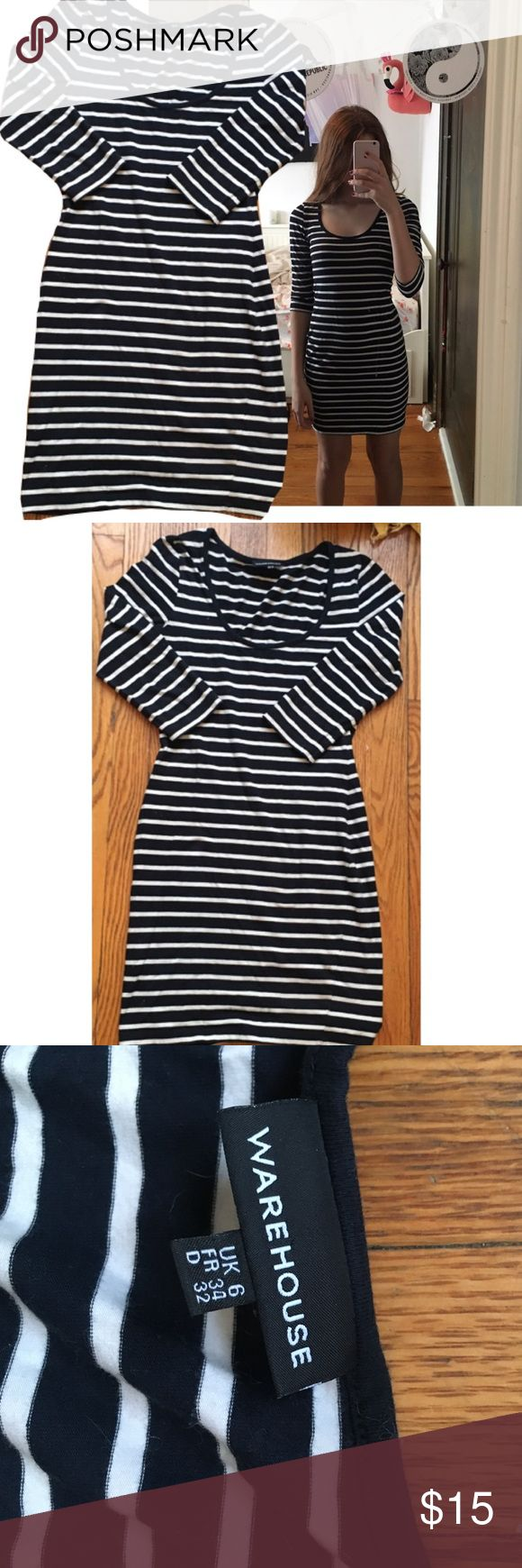"""ASOS STRIPED BODYCON DRESS ASOS - Warehouse BODYCON STRIPED NAVY BLUE AND WHITE DRESS. I am 5'2 and have 26"""" waist. Material is stretchy so it could possibly fit up to a medium on the smaller side. But would most likely look best on small sizes. Barely worn. Ships fast. So cute for parties or if you want to wear it casually it would look great as well!!❤️ Asos Dresses Midi"""