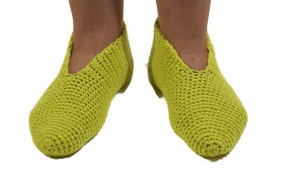 light green slippers  indoor clothing crochet shoes crochet