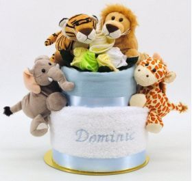 14 best sandysgifts baby gifts and baby hampers images on embroidered boy jungle friends nappy cake embroidered nappy cakes embroidered baby gifts personalised negle Gallery