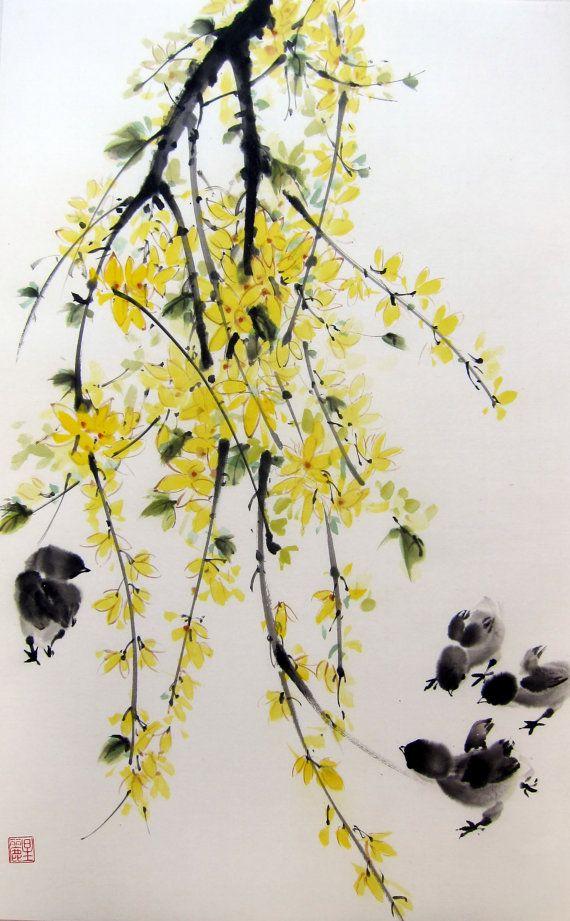 Ella Saridi - Japanese Ink Painting LargeSuibokugaSumie Flower and by Suibokuga