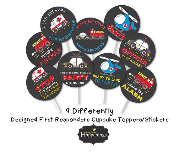 Fire truck Cupcake Toppers First Responders Cupcake Toppers