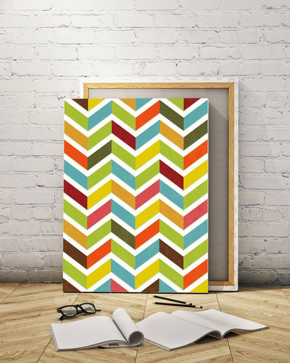 Abstract canvas art Geometric design Chevron by ReStyleGraphic