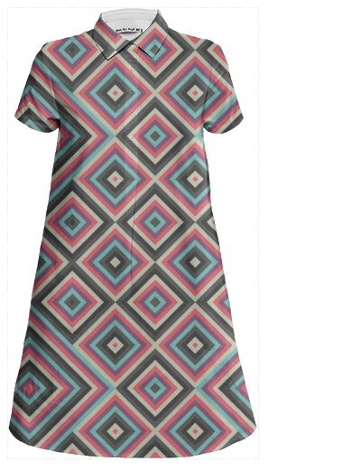 Kernoga Mini Skirt Dress by Fimbis  #fashion #pink #purple #grey #blue #pattern