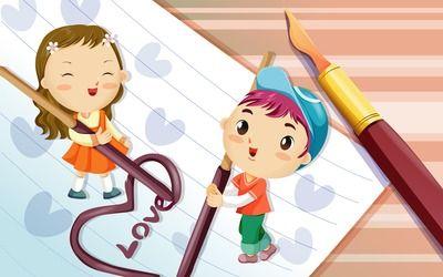 Cute boy and girl wallpaper
