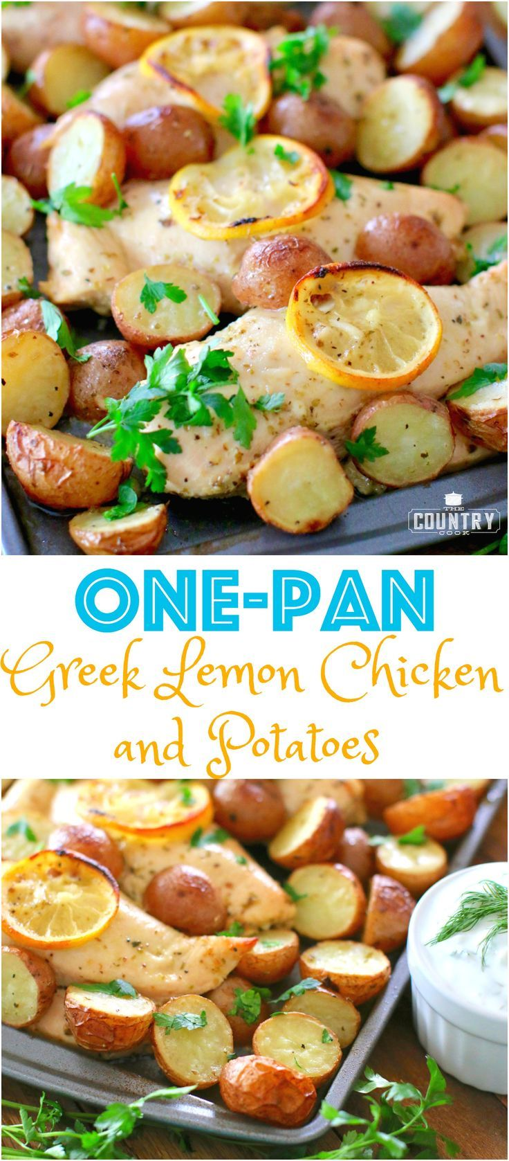 One Pan Greek Lemon Chicken with Little Potatoes and Tzaziki Sauce recipe from The Country Cook