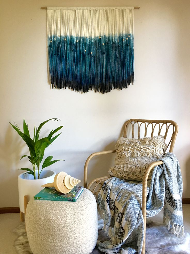 OCEANS Tapestry/ Wall Art/ Fiber Fibre Art/ Wall Hanging/ Modern Macrame/ Wool Rope/ Wall Decor/ Large Abstract Art/ Moving Textured Canvas by WallflowersHanging on Etsy