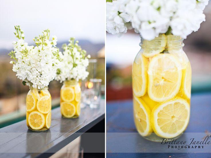 smell the flowers: Decor, Ideas, White Flowers, Masons, Color, Wedding, Lemon Centerpieces, Mason Jars, Center Pieces