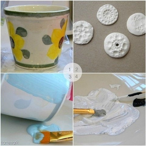 Redo that old flower pot!Herbs Pots, Crafts Ideas, Diy Crafts, Blue, Collage, Flower Pots, Craft Ideas, Ready, Diy Projects
