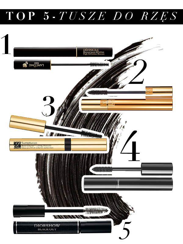 1. Lancôme – Définicils Mascara 2. Yves Saint Laurent – Volume Effet Faux Cils Mascara 3. Estée Lauder – Sumptuous Bold Volume Lifting Mascara 4. Chanel – Le Volume de Chanel Mascara 5. Dior –  Diorshow Black Out Mascara
