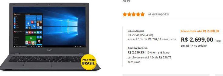 "Notebook Acer E5-574G-75Me Intel i7 6500U 8Gb 1Tb Tela 15.6""  Placa GeForce 940M 4GB << R$ 269900 >>"