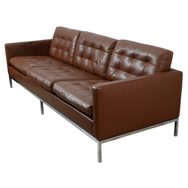 Classic chocolate brown Florence Knoll leather sofa