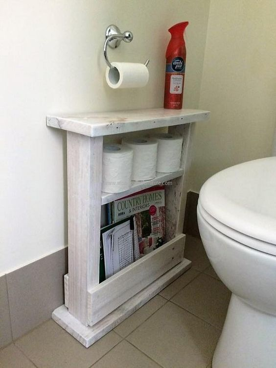Like every other area in a home, bathroom also requires furniture to place the necessary items used in it just like the rack to place the toilet tissue paper rolls and the booklets that many people prefer to read there. This bathroom racking has a special place for placing the booklets and magazines.