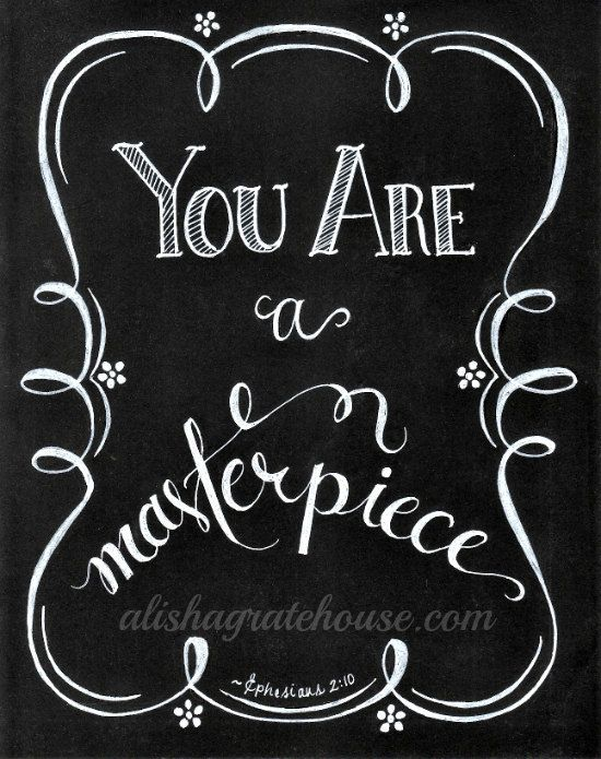Scripture Chalkboard Art Print - You Are A Masterpiece, Ephesians 2:10 - Hand-Lettered Bible Verse Print (8x10)