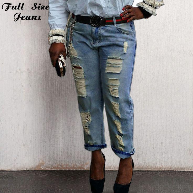 Plus Size Harem Jeans For Ladies 26 54 6XL 7XL 4XL Boyfriend Loose Ripped Jeans Summer Fashion Loose Ripped Denim Jeans Woman