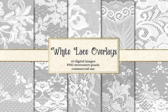 White Lace Overlays Transparent Digital Paper Scrapbooking Clip Art Embellishments Floral Shabby Lace Png Vintage Lace Clipart