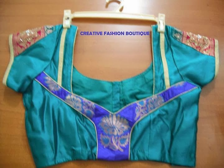 PIPING BLUE BLOUSE