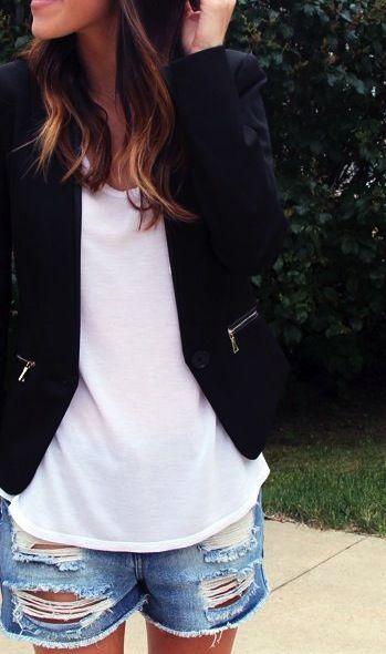 Distressed cutoffs + casual blazers.