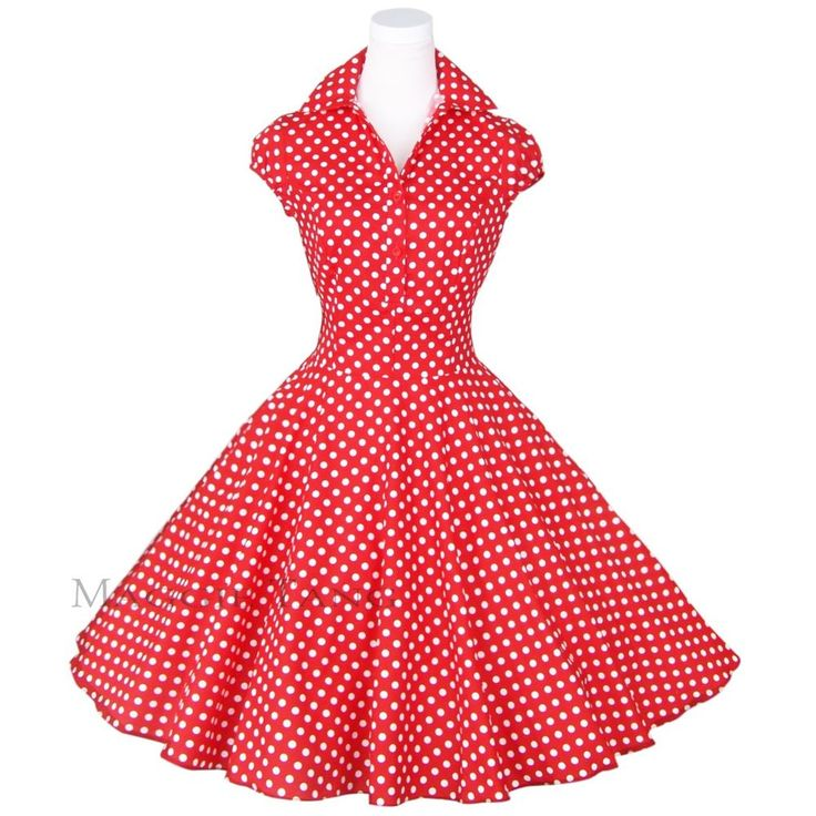Maggie Tang 50s 60s Polka Dot Floral Pinup Retro VTG Swing Party Dress R-512 #MaggieTang