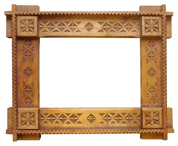 Wooden hand carved Frame traditional Romanian folk by NewOldesign